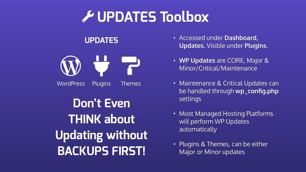 UPDATES Toolbox UPDATES WordPress Plugins Theme...