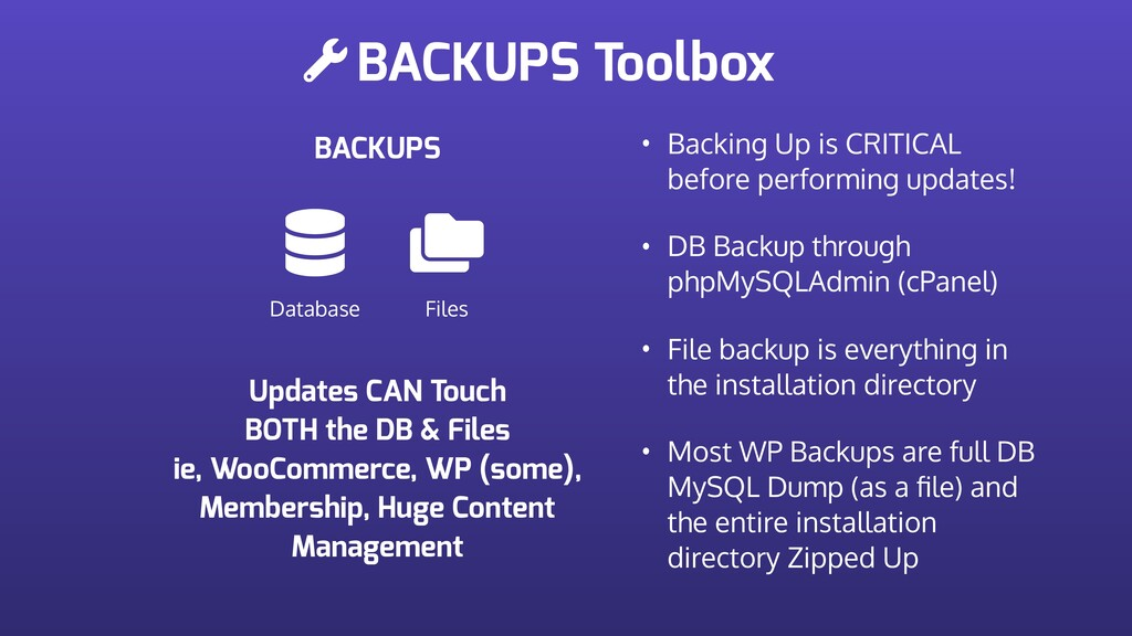 BACKUPS Toolbox BACKUPS Database Files • Backin...