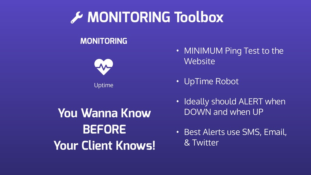 MONITORING Toolbox MONITORING Uptime • MINIMUM ...