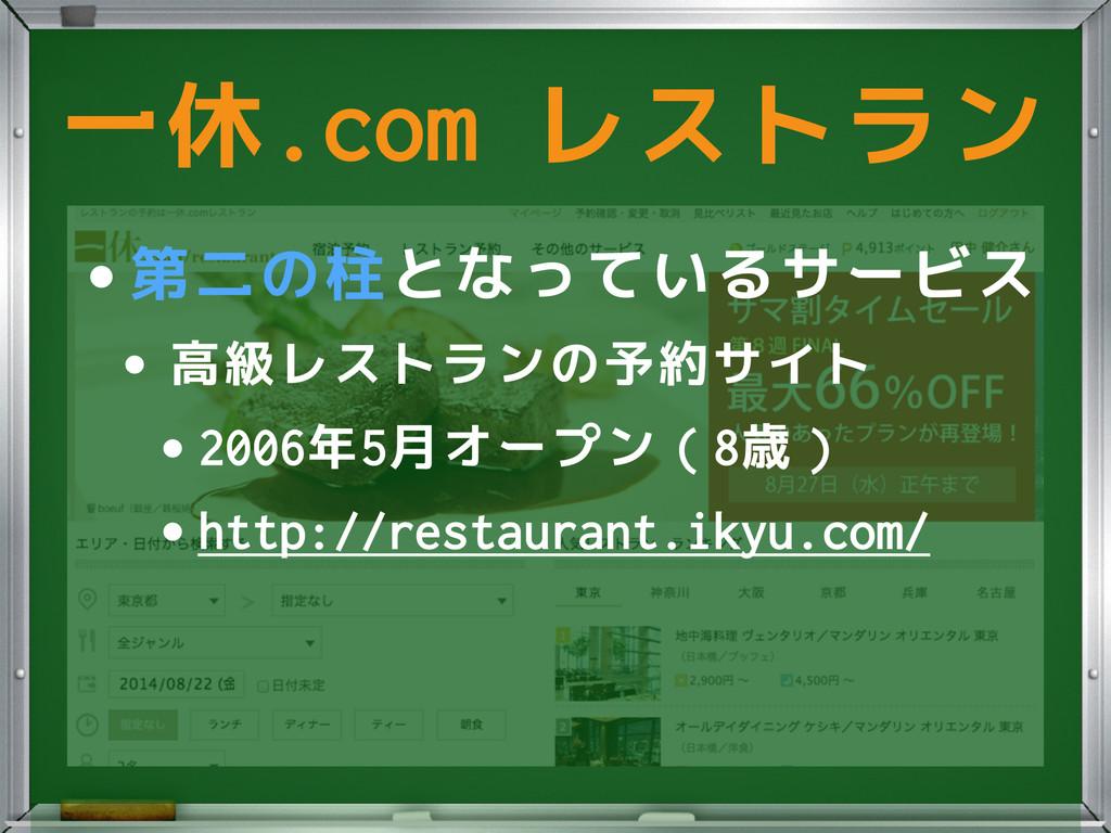 •第二の柱となっているサービス •高級レストランの予約サイト •2006年5月オープン(8歳)...