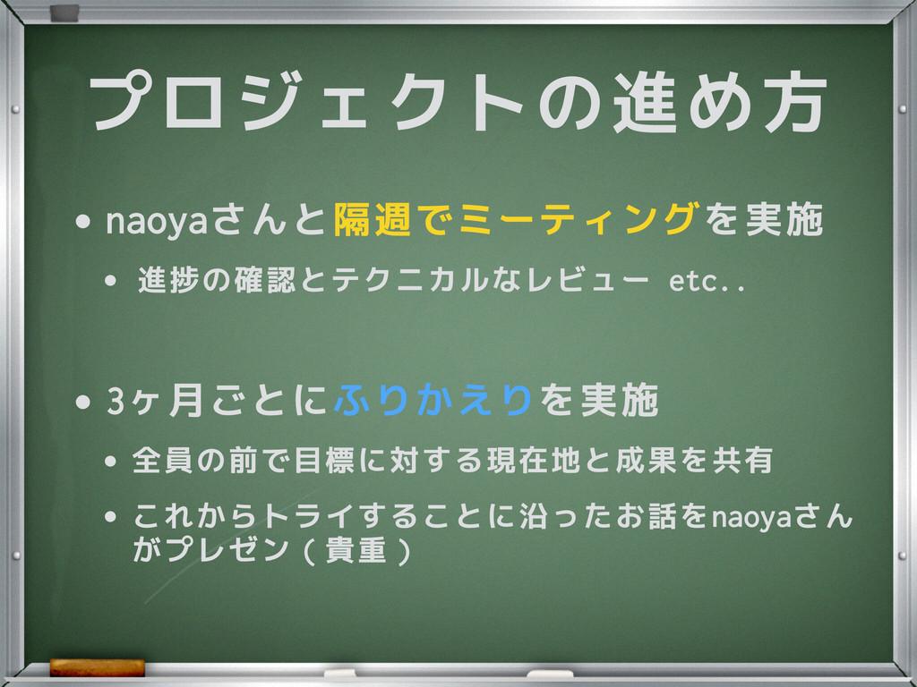 プロジェクトの進め方 •naoyaさんと隔週でミーティングを実施 • 進捗の確認とテクニカルな...