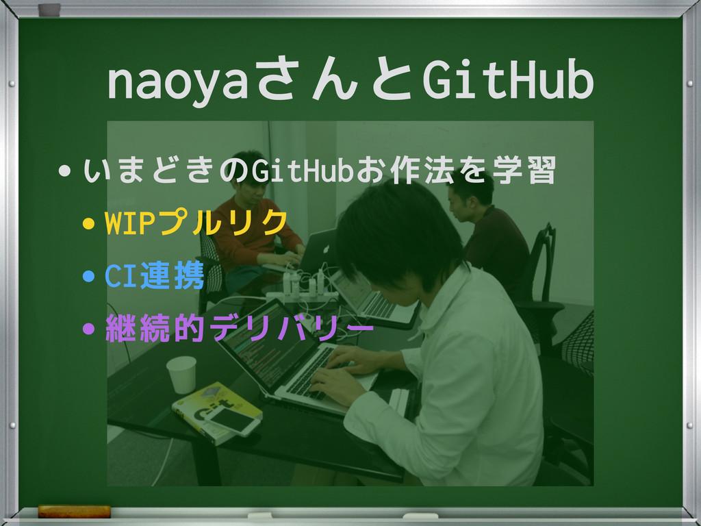 naoyaさんとGitHub •いまどきのGitHubお作法を学習 •WIPプルリク •CI連...