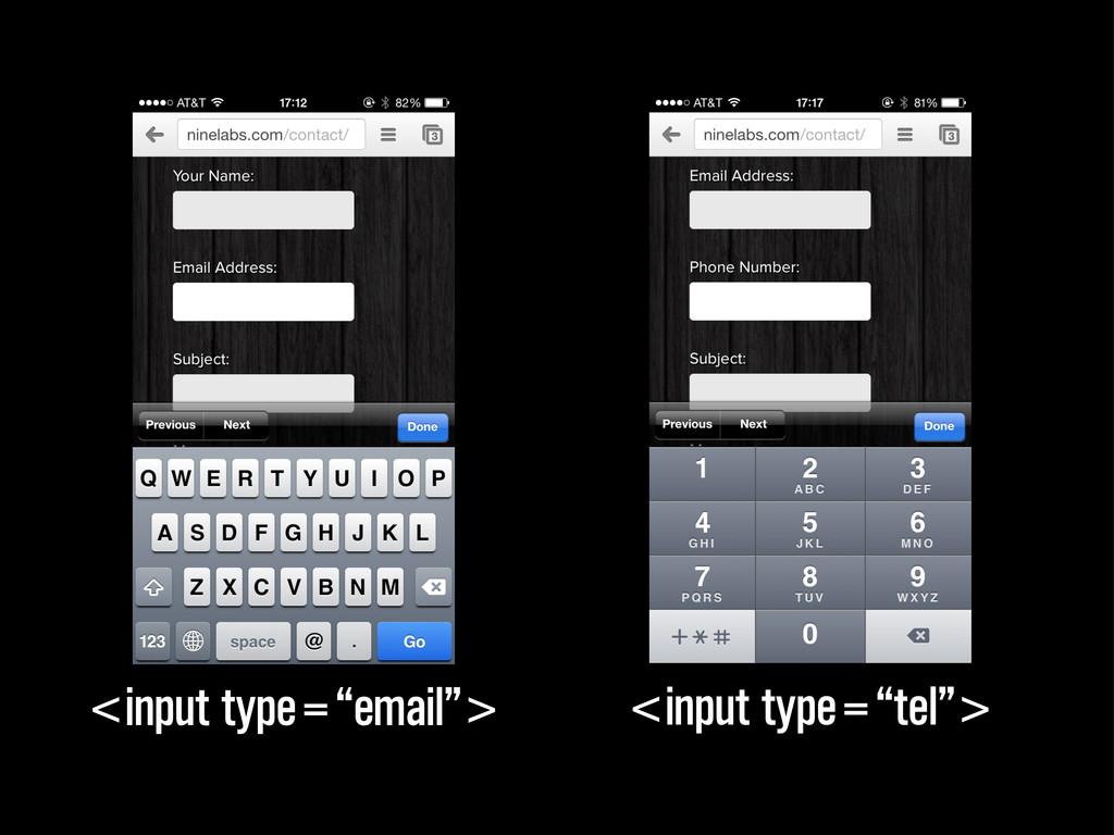 "<input type=""tel""> <input type=""email"">"
