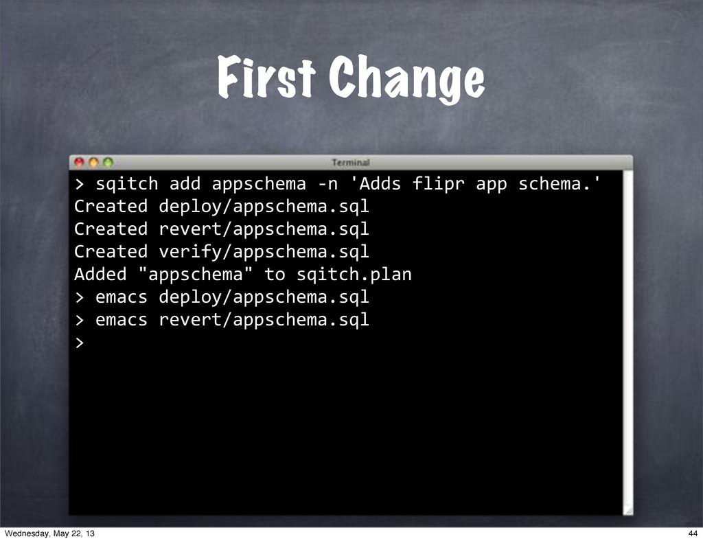 """>""""sqitch""""add""""appschema""""*n""""'Adds""""flipr""""app""""schem..."""