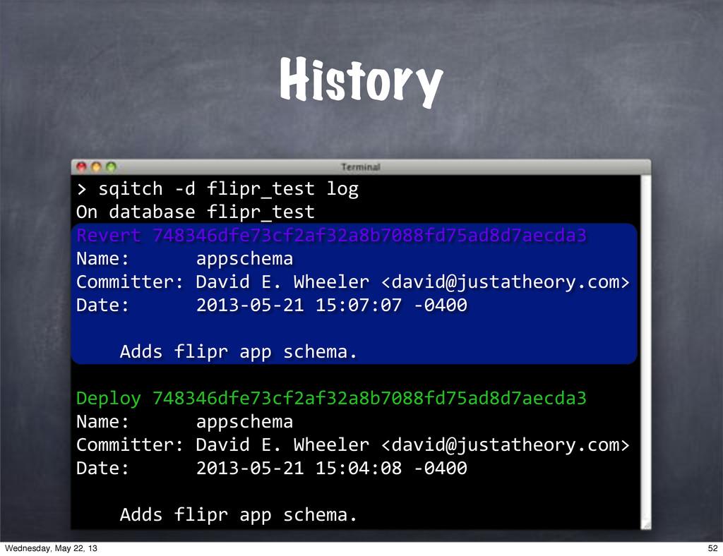 """History > >""""sqitch""""*d""""flipr_test""""log On""""databas..."""