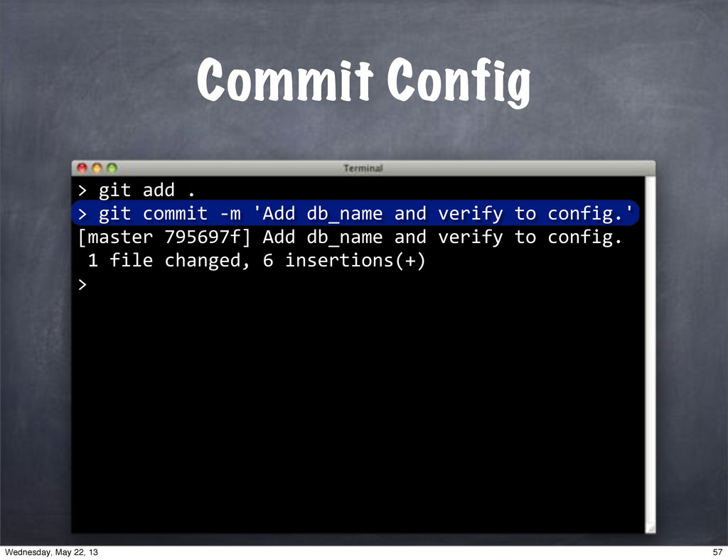 "Commit Config > """"git""add"". >""git""commit""*m""'Ad..."