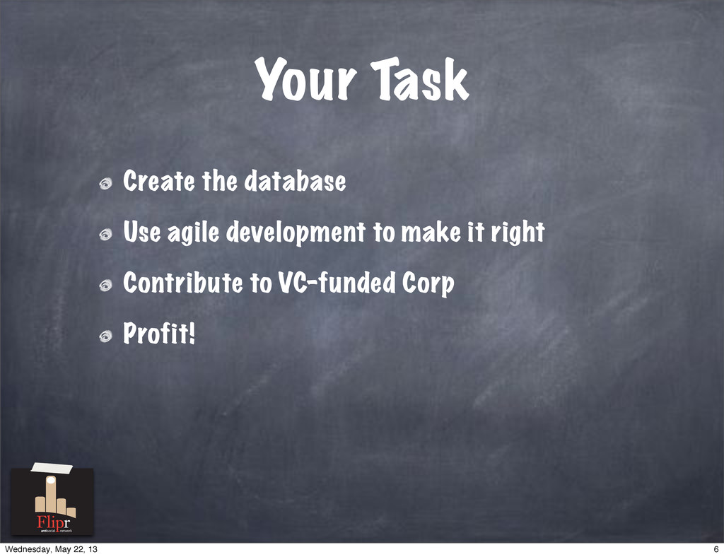 Your Task Create the database Use agile develop...