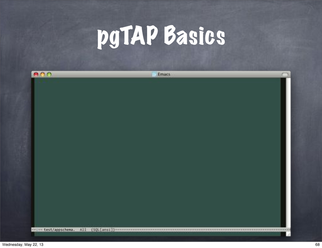 test/appschema. pgTAP Basics 68 Wednesday, May ...