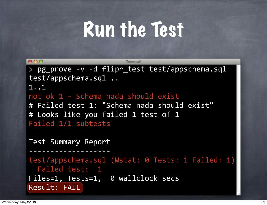 "> Run the Test """"pg_prove""*v""*d""flipr_test""test..."