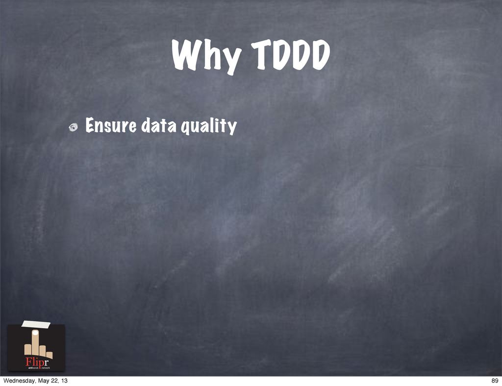 Why TDDD Ensure data quality antisocial network...
