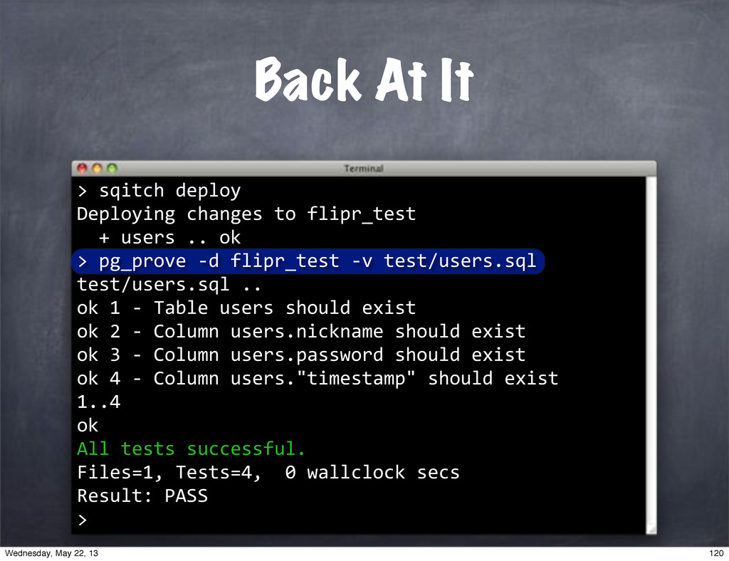 """""sqitch""deploy Deploying""changes""to""flipr_test..."