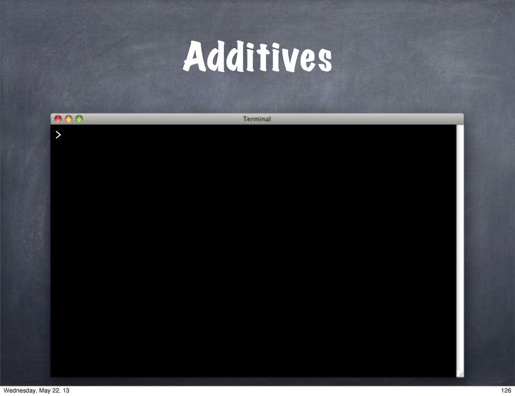 Additives > 126 Wednesday, May 22, 13
