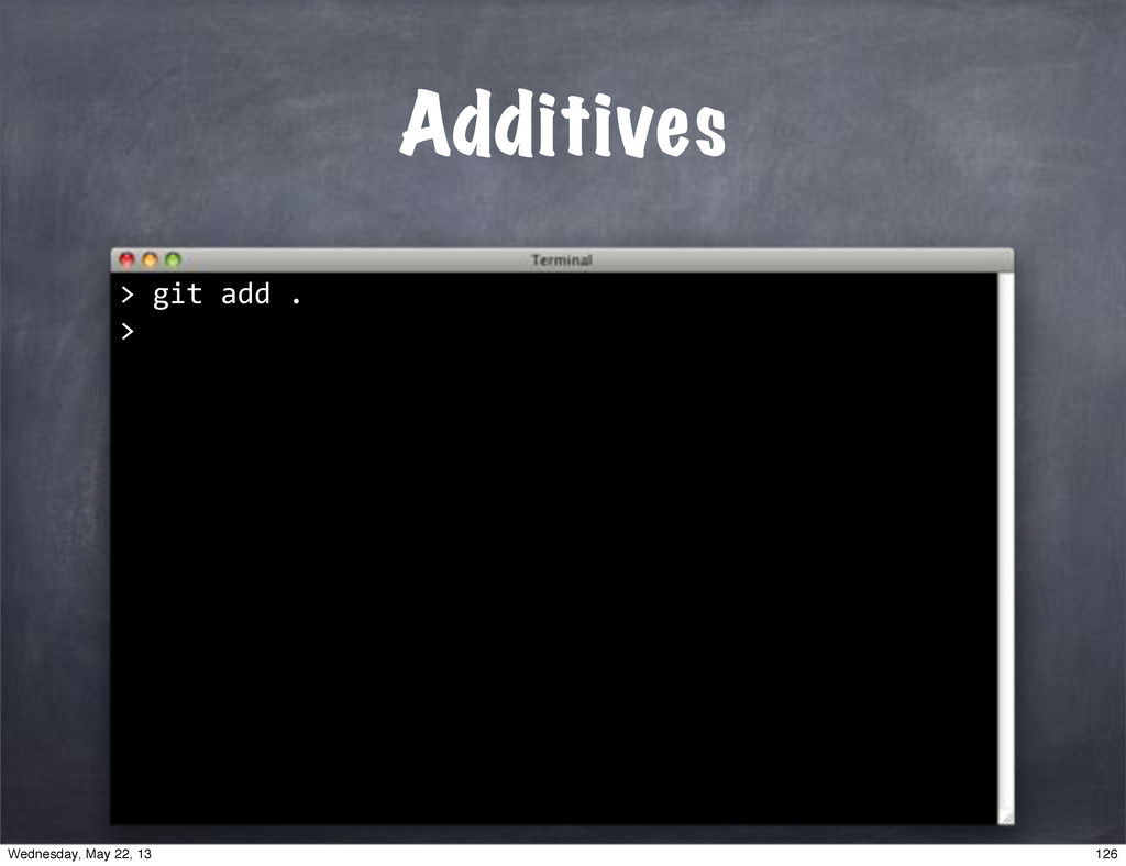 "Additives > """"git""add"". > 126 Wednesday, May 22..."