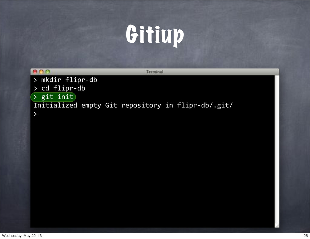 """""mkdir""flipr*db >""cd""flipr*db >""git""init Initi..."