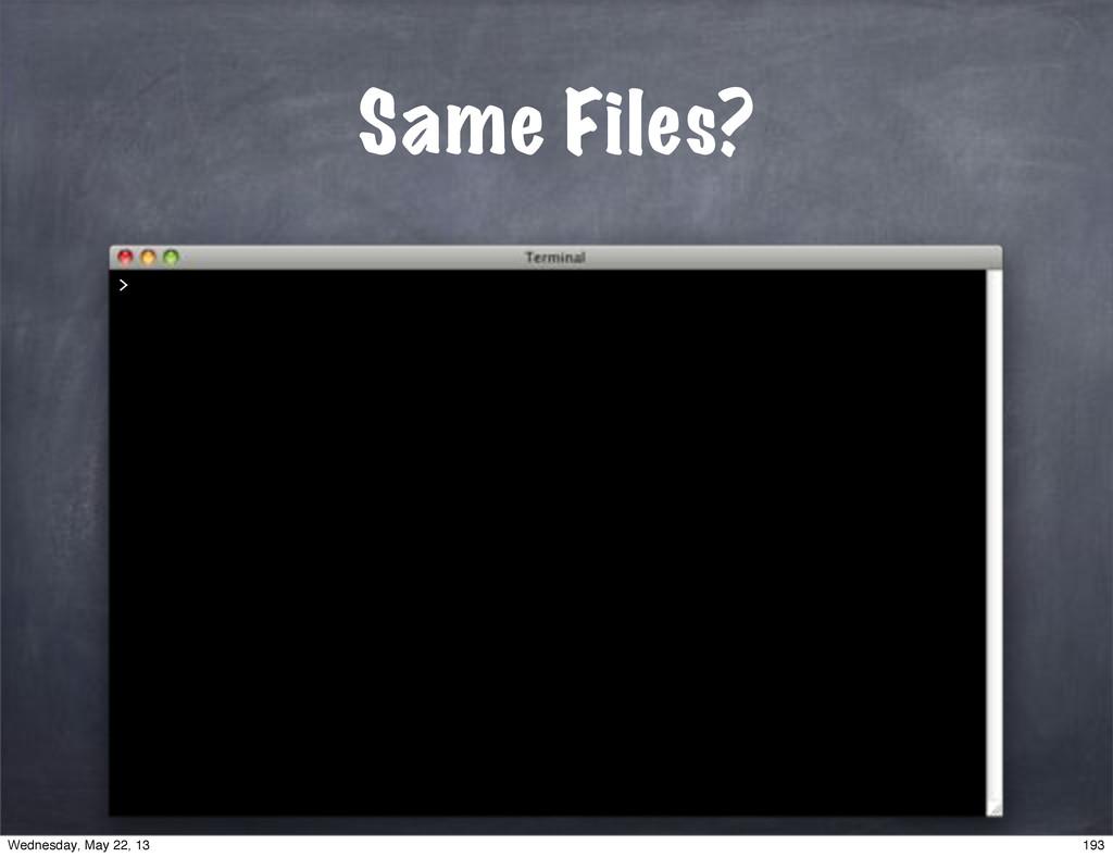 Same Files? > 193 Wednesday, May 22, 13