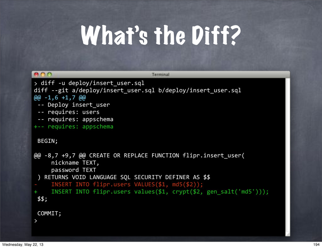 "What's the Diff? """"diff""*u""deploy/insert_user.s..."