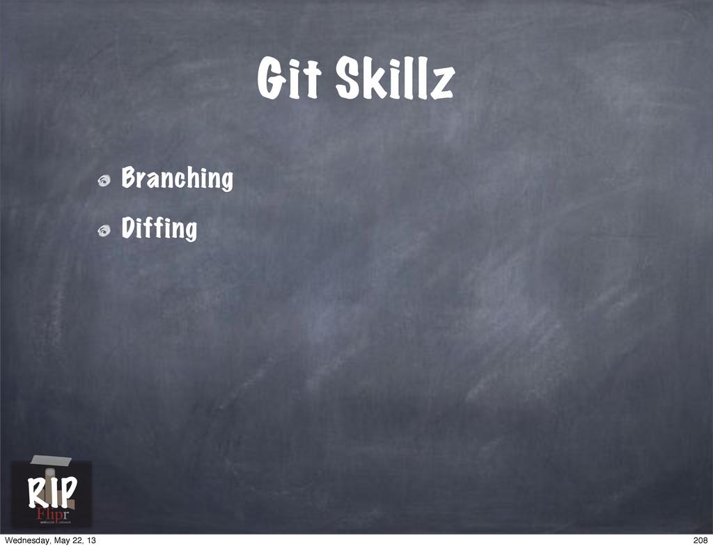 Git Skillz Branching Diffing antisocial network...