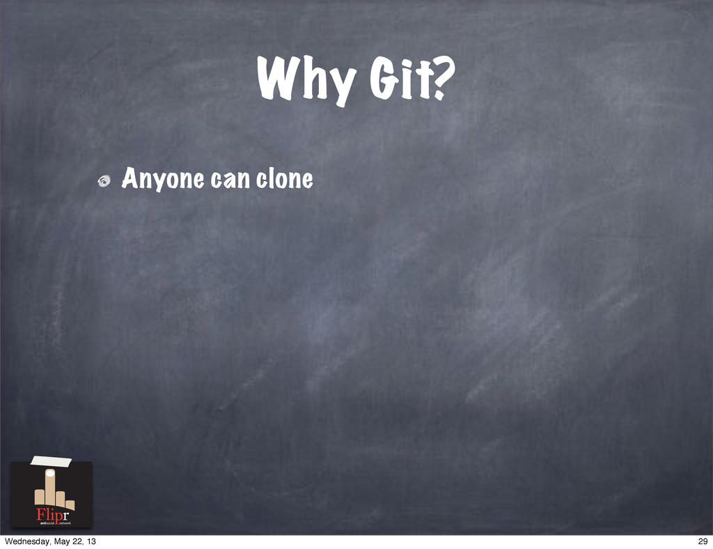 Why Git? Anyone can clone antisocial network 29...