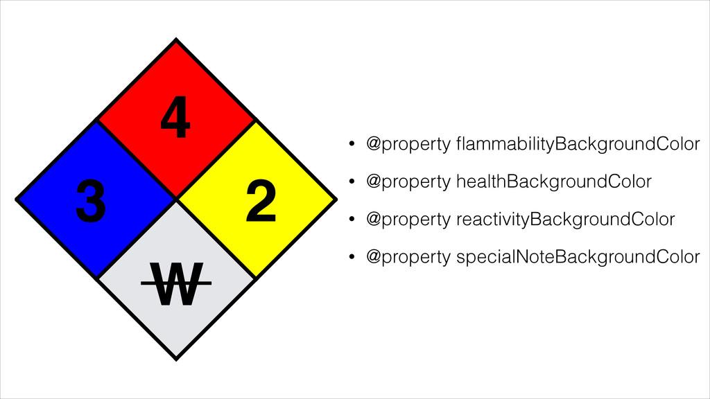 4 3 2 W • @property flammabilityBackgroundColor ...