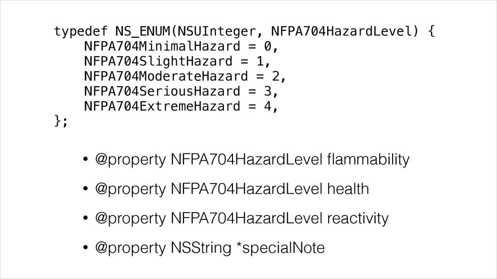 typedef NS_ENUM(NSUInteger, NFPA704HazardLevel)...