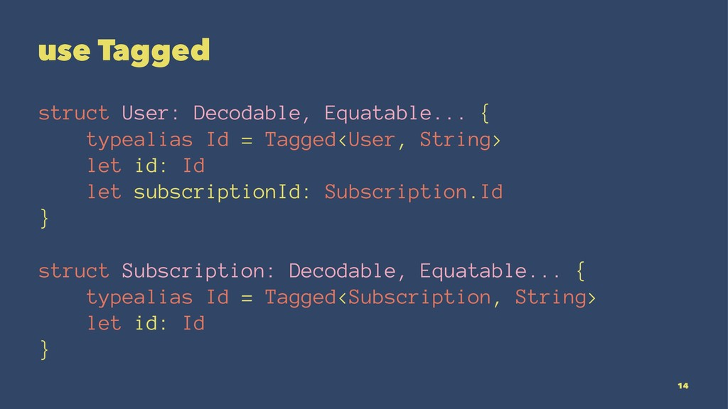 use Tagged struct User: Decodable, Equatable......