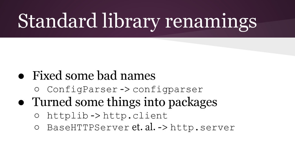 Standard library renamings ● Fixed some bad nam...