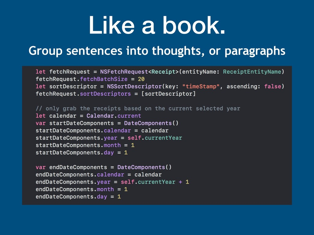 Like a book. Group sentences into thoughts, or ...