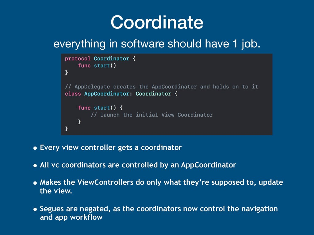 Coordinate everything in software should have 1...
