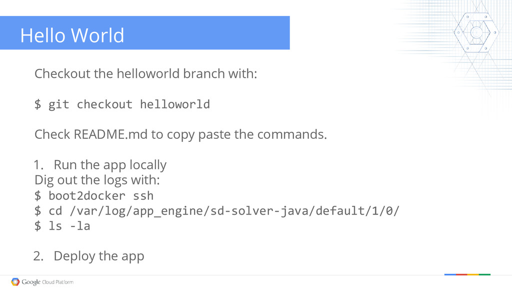 Hello World Checkout the helloworld branch with...