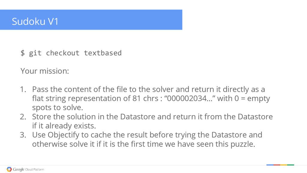 Sudoku V1 $ git checkout textbased Your mission...