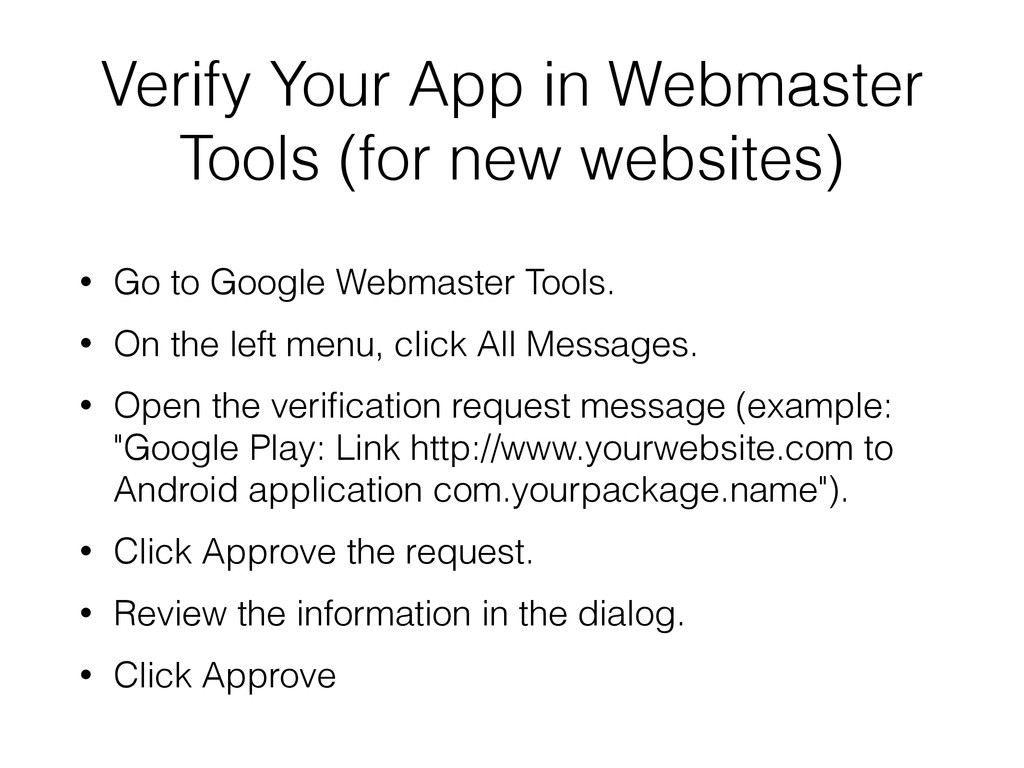 Verify Your App in Webmaster Tools (for new web...