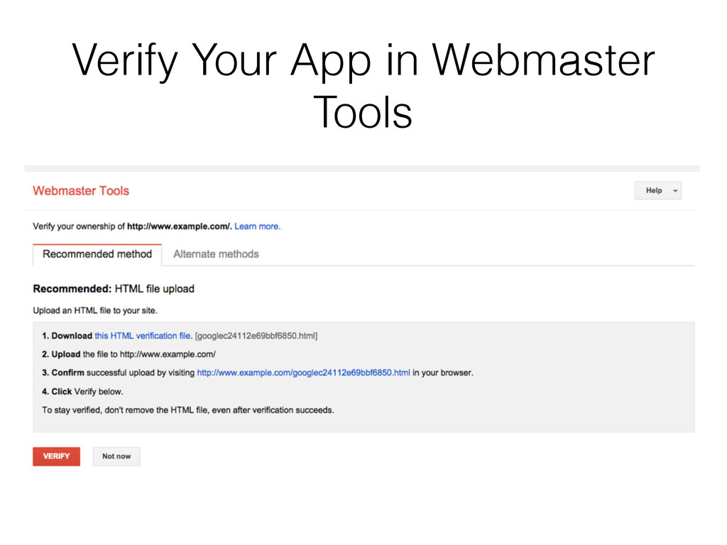 Verify Your App in Webmaster Tools