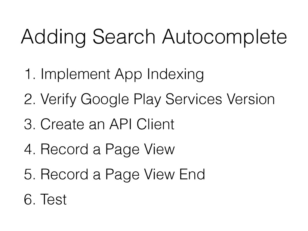 Adding Search Autocomplete 1. Implement App Ind...