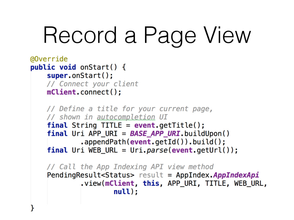 Record a Page View