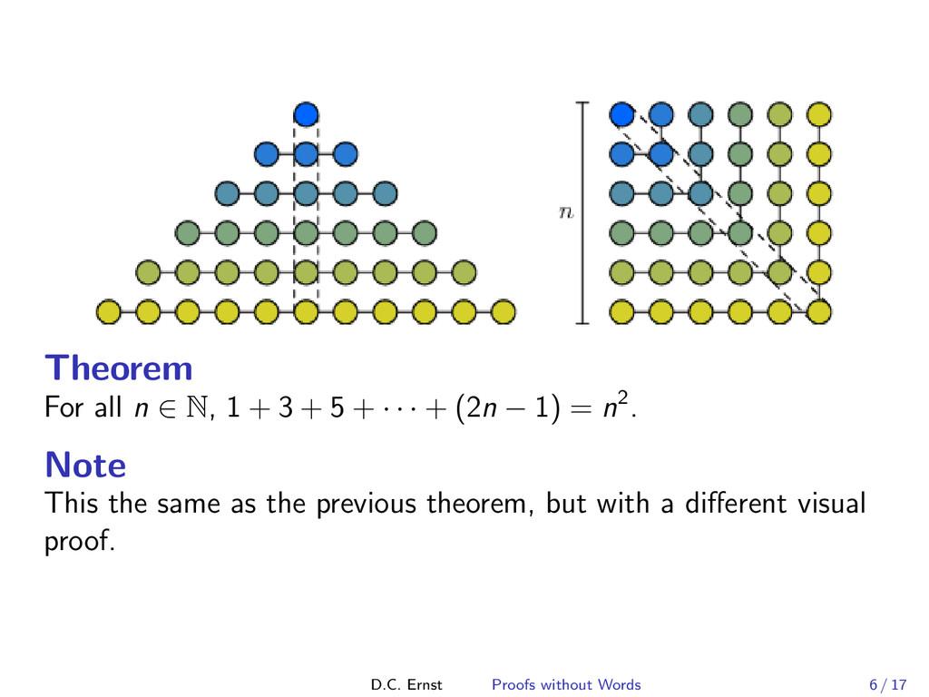 Theorem For all n ∈ N, 1 + 3 + 5 + · · · + (2n ...