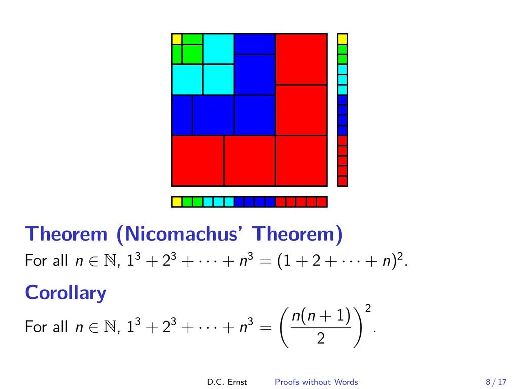 Theorem (Nicomachus' Theorem) For all n ∈ N, 13...
