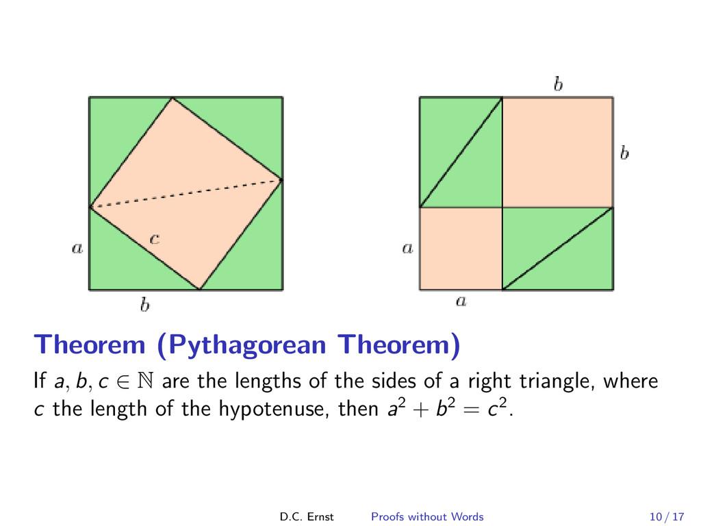 Theorem (Pythagorean Theorem) If a, b, c ∈ N ar...