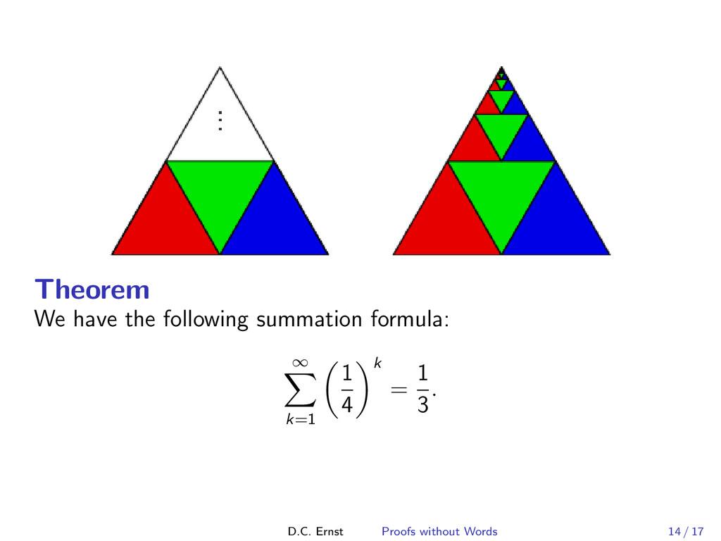 Theorem We have the following summation formula...
