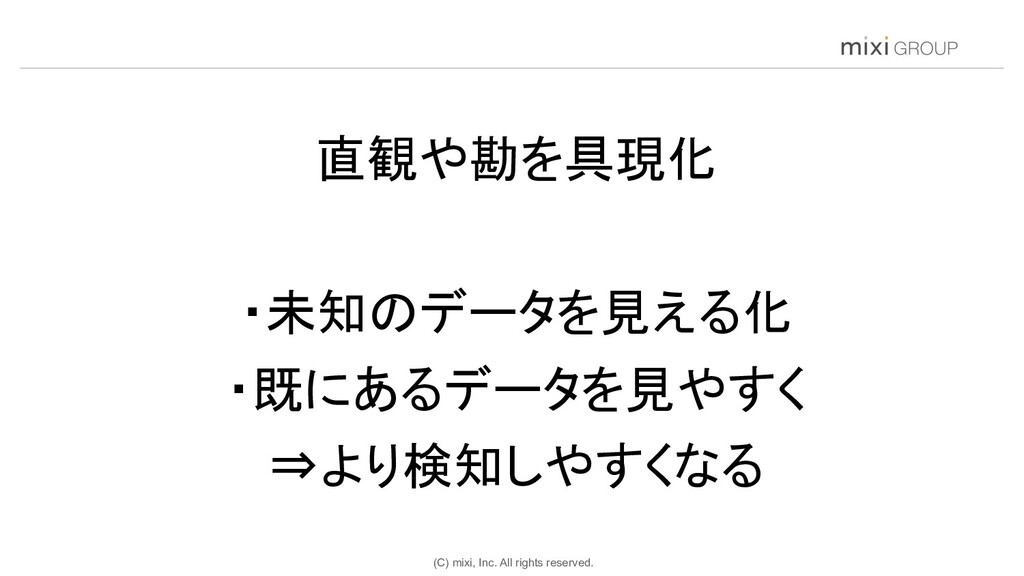 (C) mixi, Inc. All rights reserved. 直観や勘を具現化 ...
