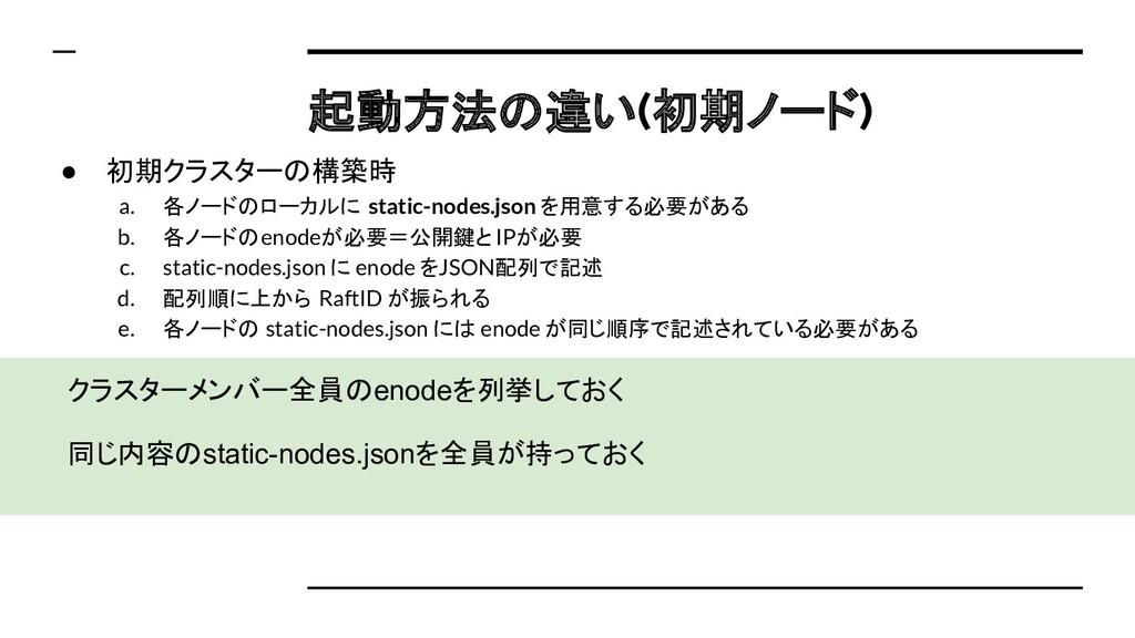 クラスターメンバー全員のenodeを列挙しておく 同じ内容のstatic-nodes.json...