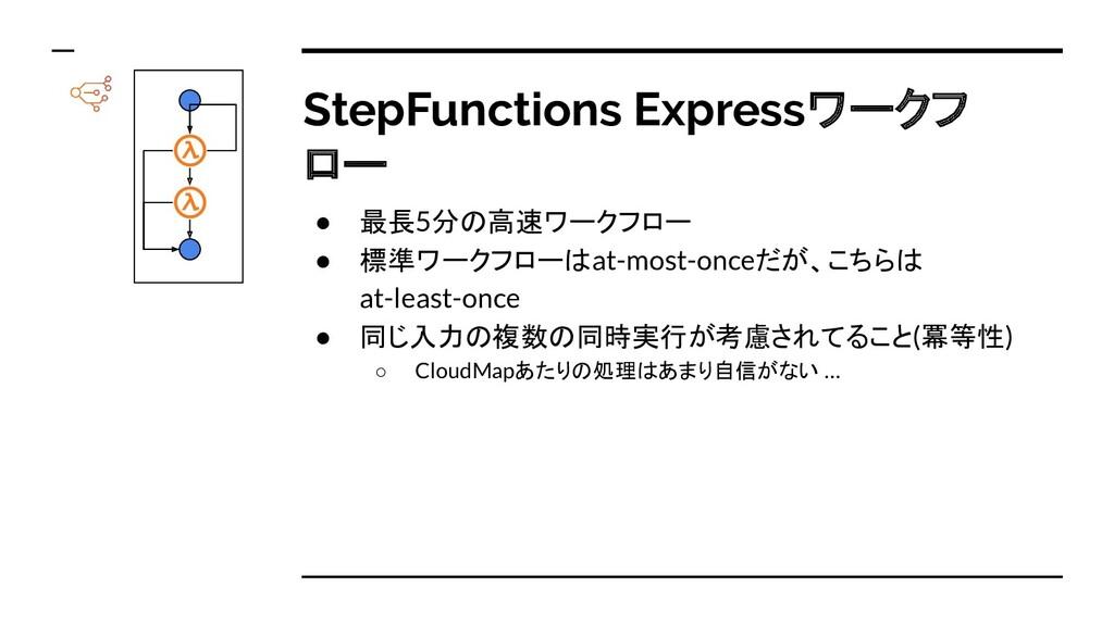 StepFunctions Expressワークフ ロー ● 最長5分の高速ワークフロー ● ...