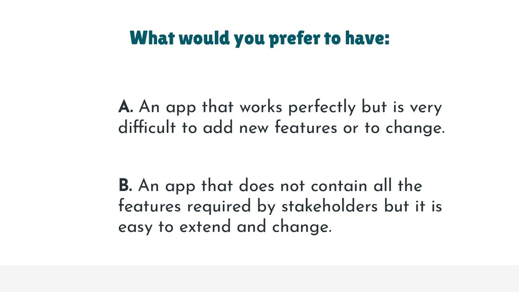 A. An app that works perfectly but is very diff...