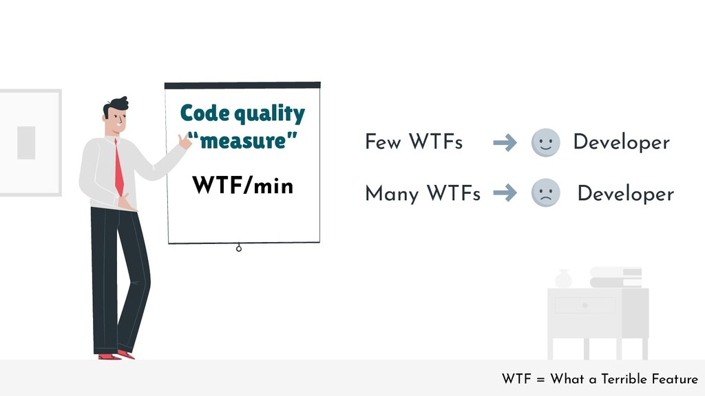 "Code quality ""measure"" Few WTFs Developer Many ..."