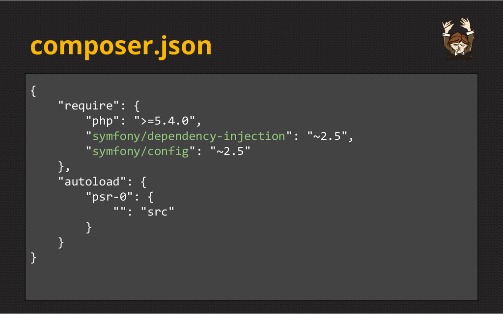 "composer.json { ""require"": { ""php"": "">=5.4.0"", ..."