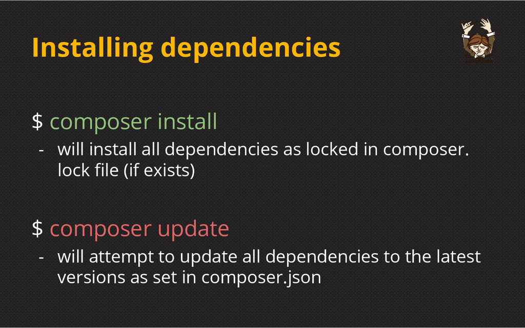 Installing dependencies $ composer install - wi...