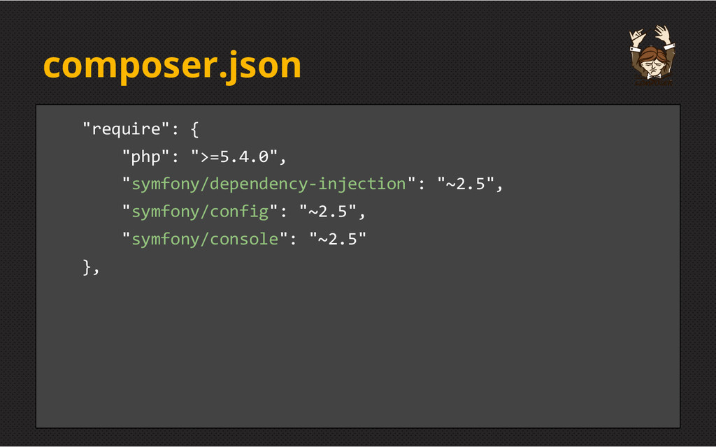 "composer.json ""require"": { ""php"": "">=5.4.0"", ""s..."