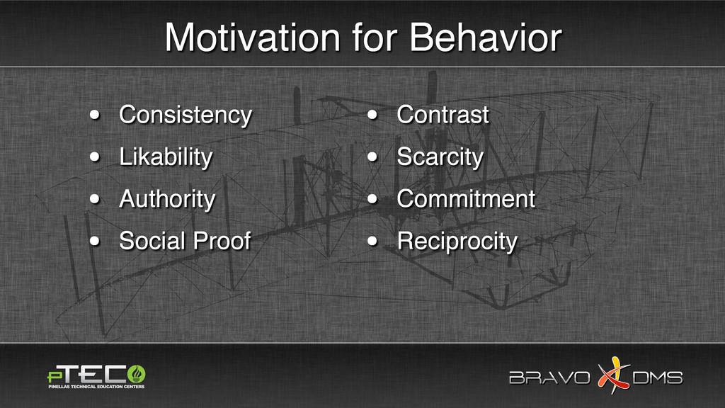 BRAVO DMS BRAVO DMS Motivation for Behavior • C...