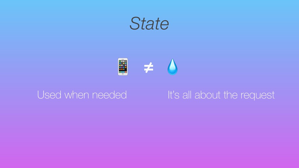 State Used when needed  ≠ It's all about the re...