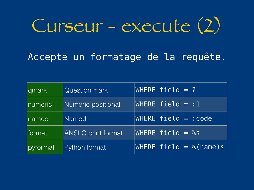 Curseur - execute (2) Accepte un formatage de l...