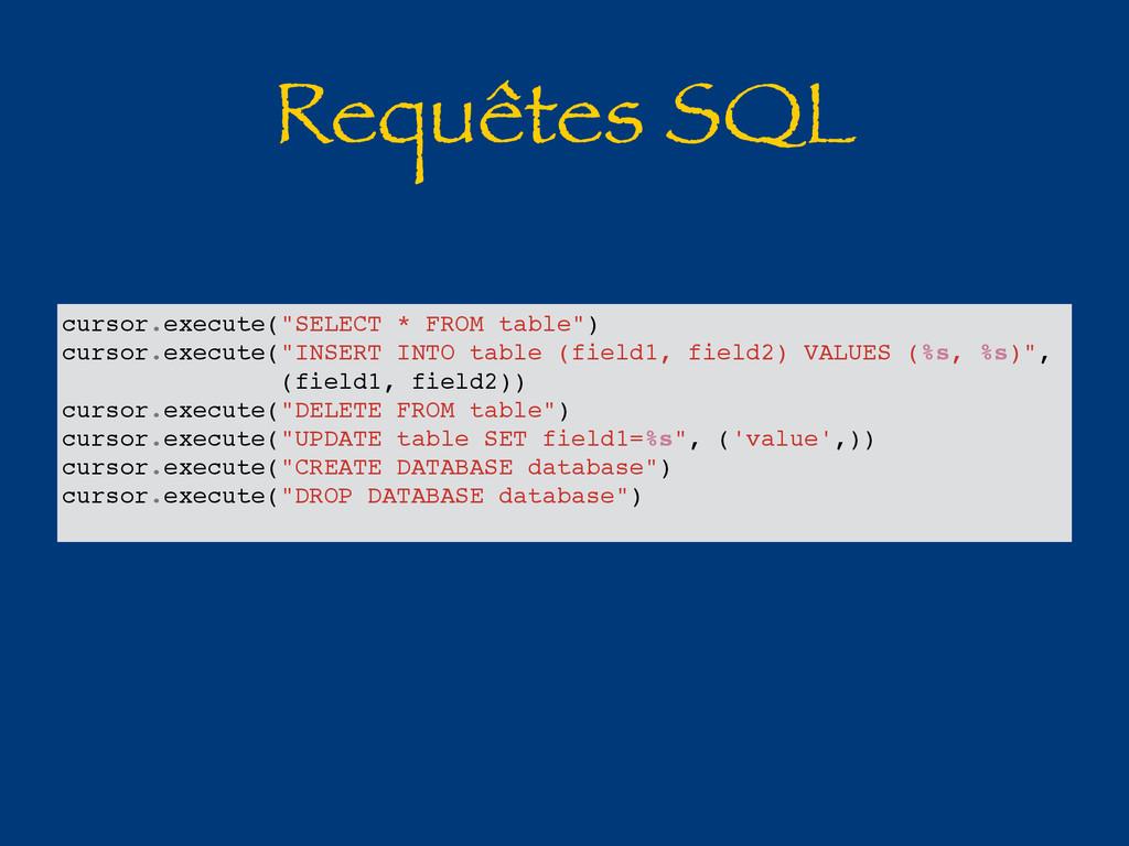 """Requêtes SQL cursor.execute(""""SELECT * FROM tabl..."""